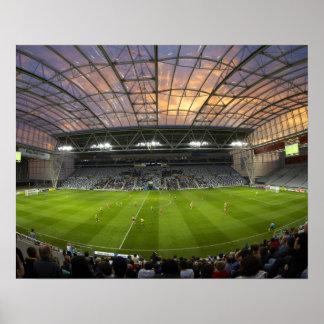 Football game, Forsyth Barr Stadium, Dunedin Poster