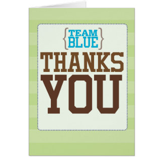 Football Gender Reveal Team Blue Thank You Card