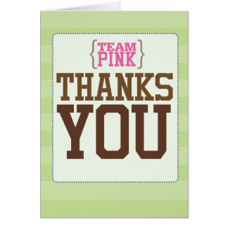 Football Gender Reveal Team Pink Thank You Card