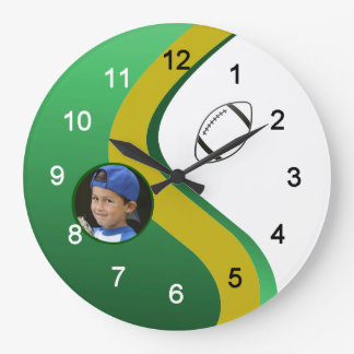 Football Green and Gold Custom Photo Large Clock