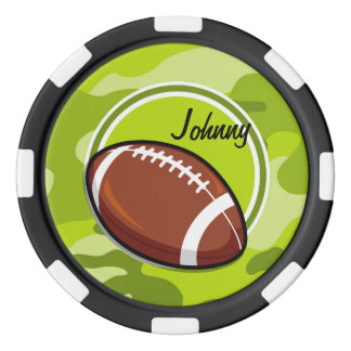 Football on bright green camo, camouflage poker chip set
