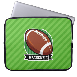 Football on Green Stripes Laptop Sleeves