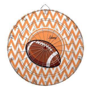 Football; Orange and White Chevron Dartboard With Darts