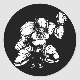 Football Player With Horns Classic Round Sticker