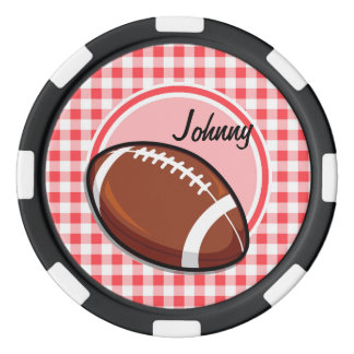 Football; Red and White Gingham Poker Chips