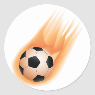 football, soccer ball fire classic round sticker