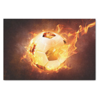 "Football Soccer Ball on Fire 10"" X 15"" Tissue Paper"