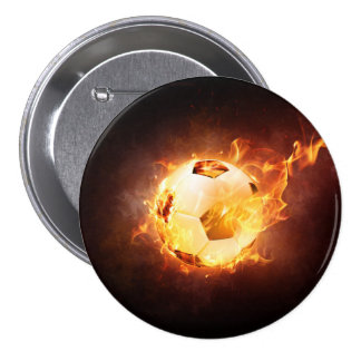Football Soccer Ball on Fire 7.5 Cm Round Badge
