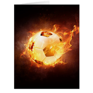 Football Soccer Ball on Fire Big Greeting Card