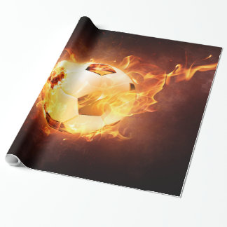 Football Soccer Ball on Fire Wrapping Paper
