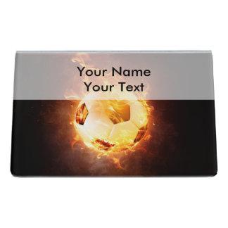 Football under Fire, Ball, Soccer Desk Business Card Holder