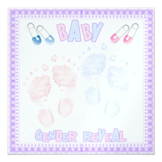 Footprints Baby Gender Reveal Party Invitation