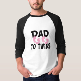 Footprints Dad to Twins (twin girls) T-Shirt