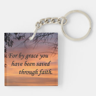 For By Grace You Have Been Saved Double-Sided Square Acrylic Key Ring