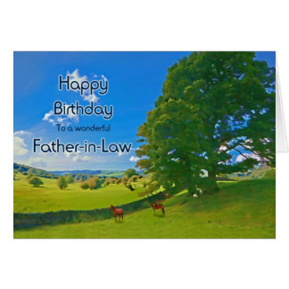 For Father-in-Law, a Pastoral landscape Birthday Card