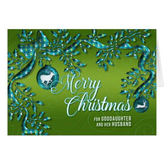 for Goddaughter and Husband Green and Turquoise Card