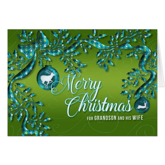 for Grandson and Wife Green Turquoise Christmas Card