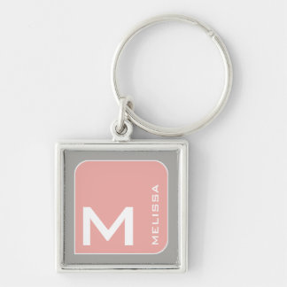 for her a modern pink square logo monogram Silver-Colored square key ring