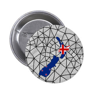 For Kids: Creative New Zealand Flag With Map 6 Cm Round Badge