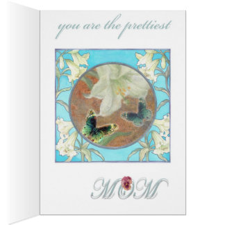 for Mom illustrated Romantic Floral Butterfly Card
