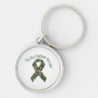 For My Father-in-Law Military  Ribbon Silver-Colored Round Key Ring