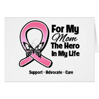 For My Hero My Mom Breast Cancer Greeting Card