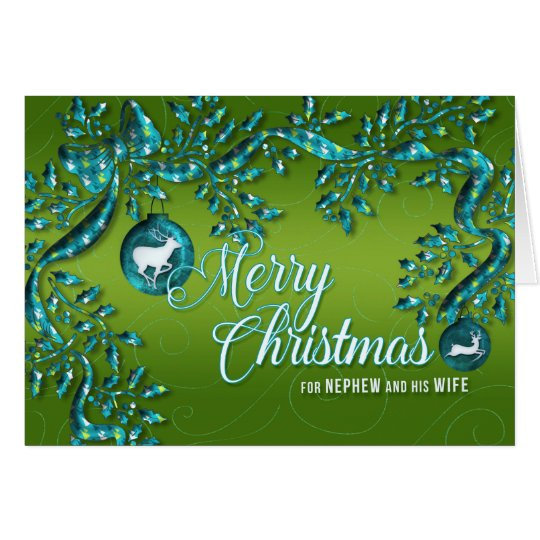 for Nephew and His Wife Green Turquoise Christmas Card