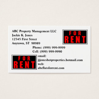 FOR RENT Sign Business Cards Card Rental Service