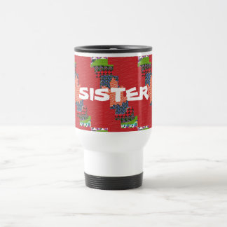 For SISTER pour sœur SILKY Color Pallet flowers 15 Oz Stainless Steel Travel Mug