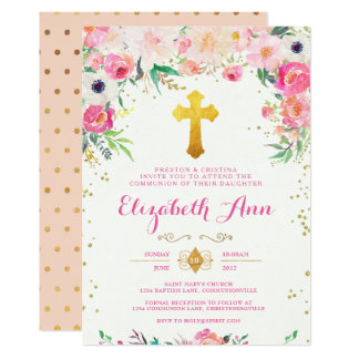 Foral and Gold Cross Communion Invitation