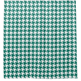 Forest green and White Houndstooth Pattern Shower Curtain