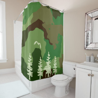Forest green hunters camouflage and wildlife print shower curtain