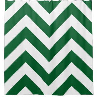 Forest Green White Huge Chevron Shower Curtain