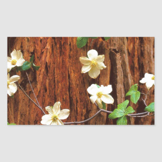 Forest Pacific Dogwood Redwood Rectangular Sticker