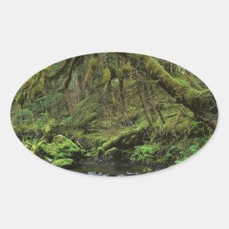 Forest Peaceful Alaska Oval Sticker