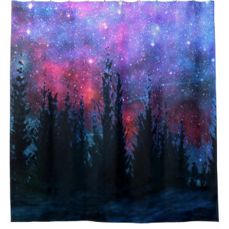 Forest Pines - Starry Sky Shower Curtain