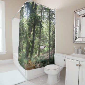 Forest Scene With Chipmunk And Elk Shower Curtain