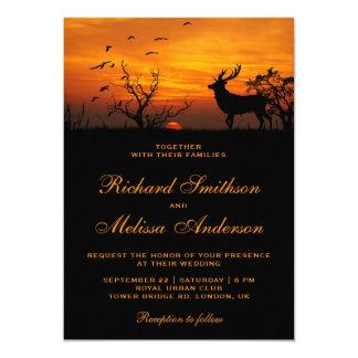 Forest Sunset Deer Wedding Invitation