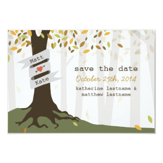 Forest Woodland Wedding Fall Autumn Save The Date Card