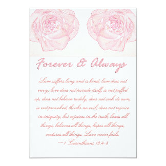 Forever & Always Rose Scripture Wedding Card