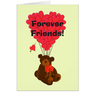 Forever friends funny cute teddy bear and heart note card
