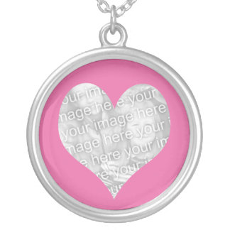 Forever love pink heart photo silver plated necklace