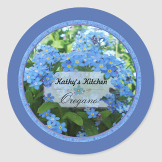 Forget me nots spice jar labels 3b round stickers