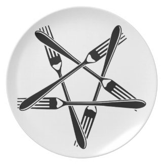 Fork Pentagram (black) Party Plate