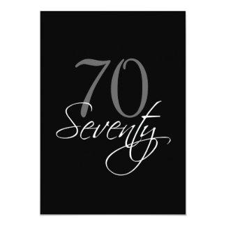 Formal Black Gray 70th Birthday Invitation