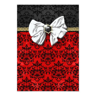 Formal black red white damask party card