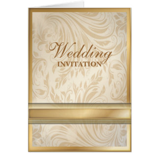 Formal champagne gold Damask Wedding Card