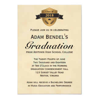 Formal Faux Parchment Graduation Announcements