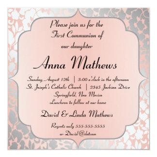 Formal Metallic Peach Floral First Communion 13 Cm X 13 Cm Square Invitation Card