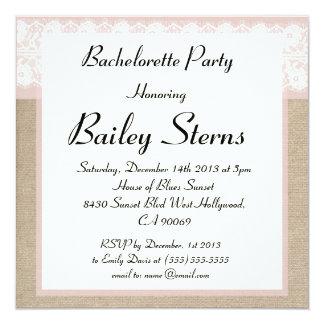Formal Pink Burlap Bachelorette Party Invitaiton Announcements